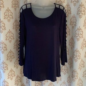Cable & gauge blue sexy open sleeve top L